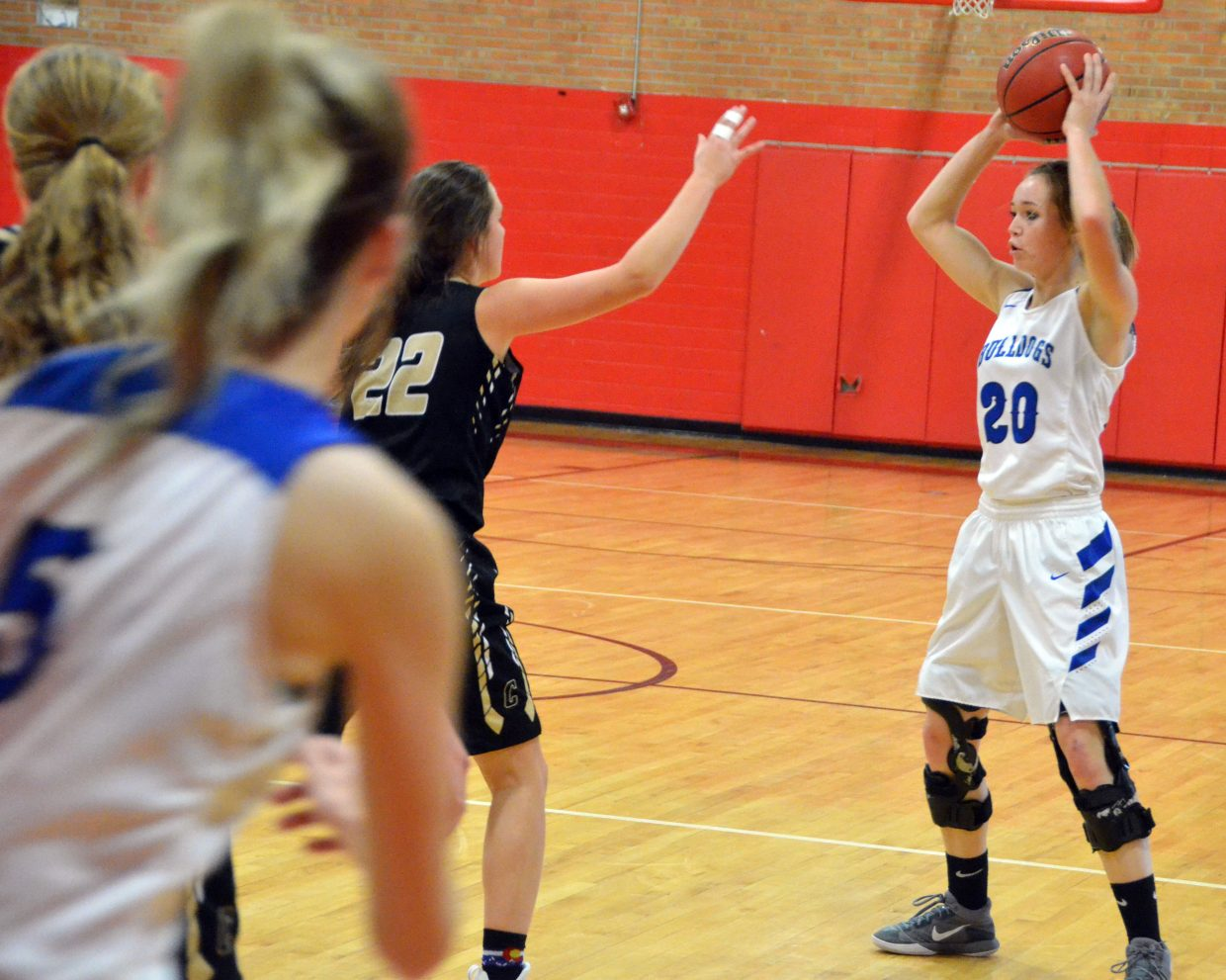 Moffat County High School's Kinlie Brennise, left, cuts to the edge to get open for teammate Madie Weber.
