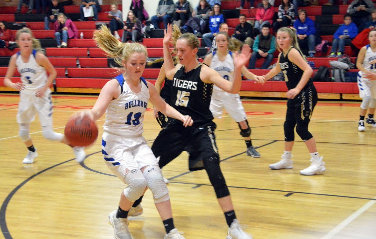 Moffat County High School's Jaidyn Steele backs off to pass off the ball against Cañon City.