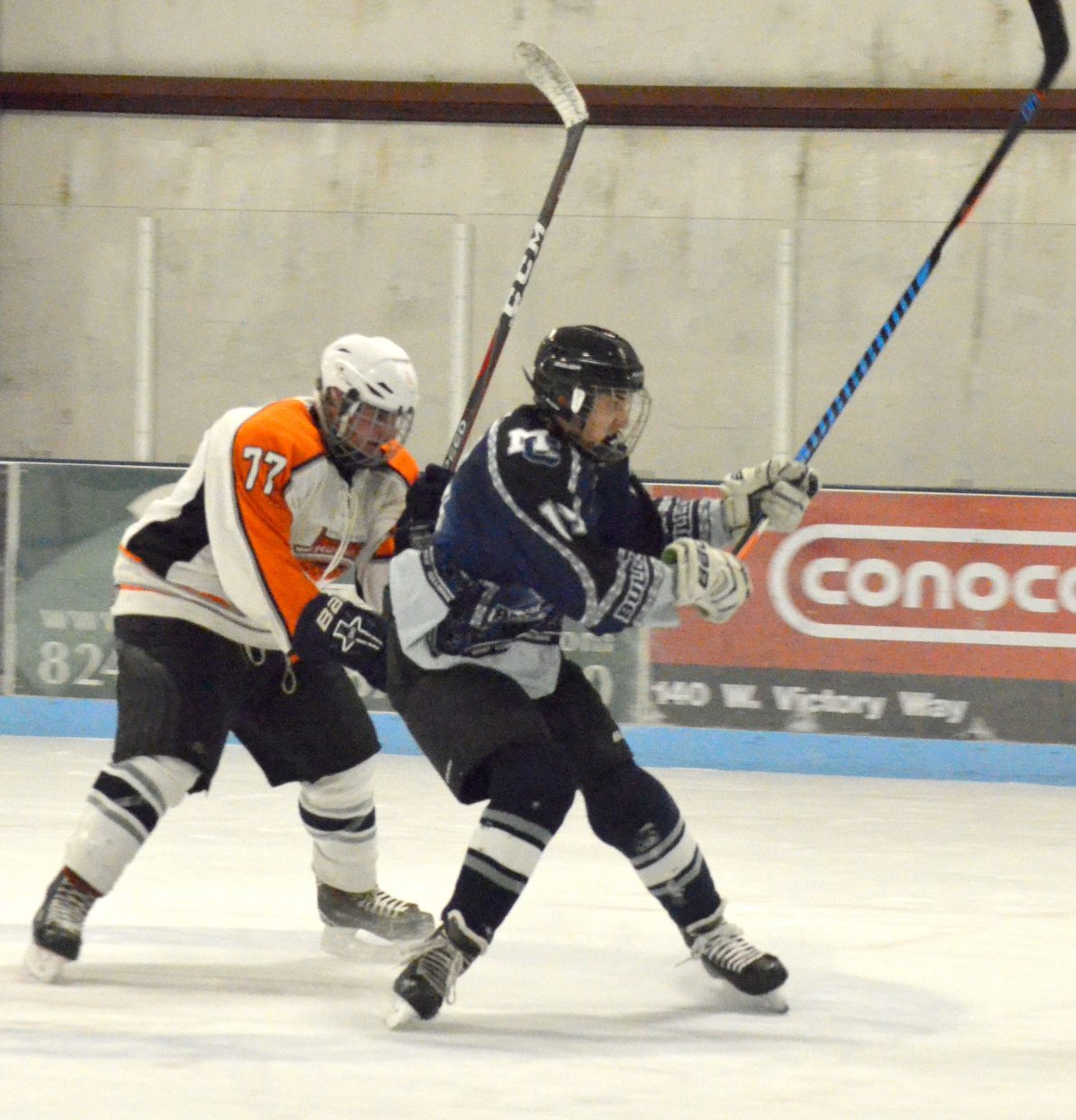 Colton Lodato gets off a shot during Moffat County Bulldogs' game against Hyland Hills.