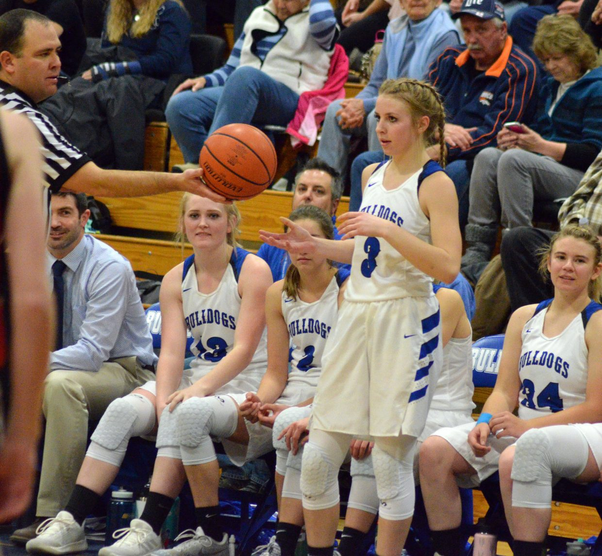 Moffat County High School's Halle Hamilton gets ready to inbound the ball in front of the Bulldog bench.