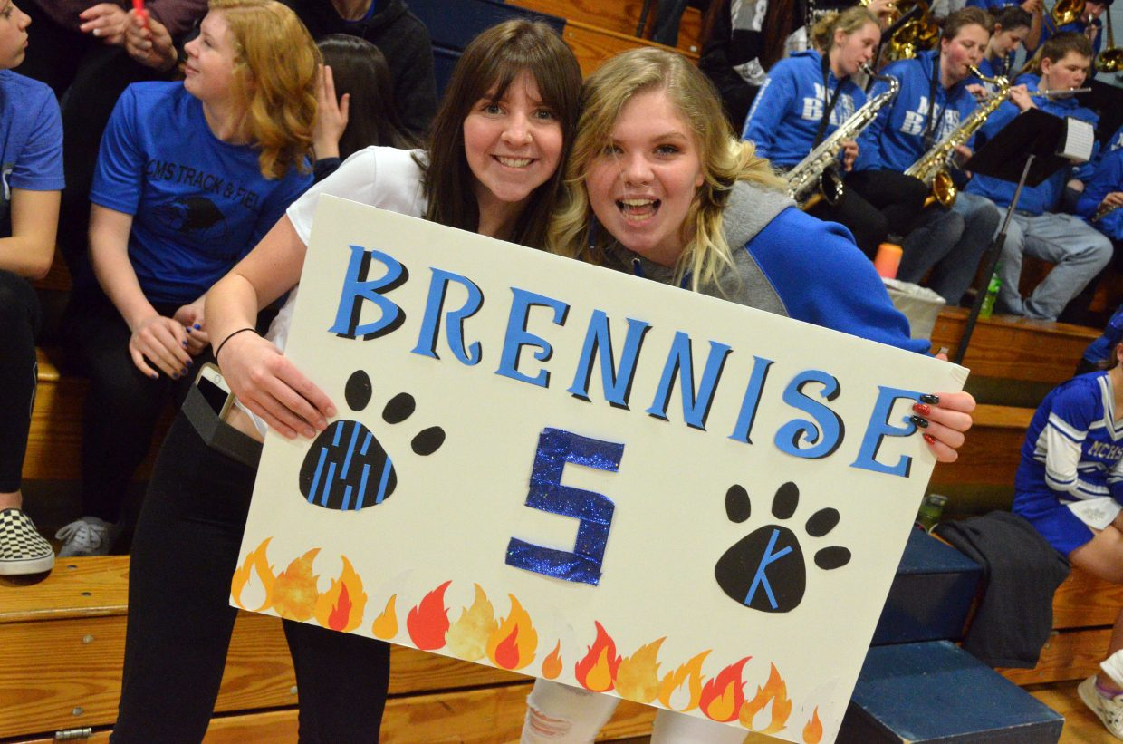 Tressa Otis and Madysen Cramer show their support for Moffat County High School girls basketball.