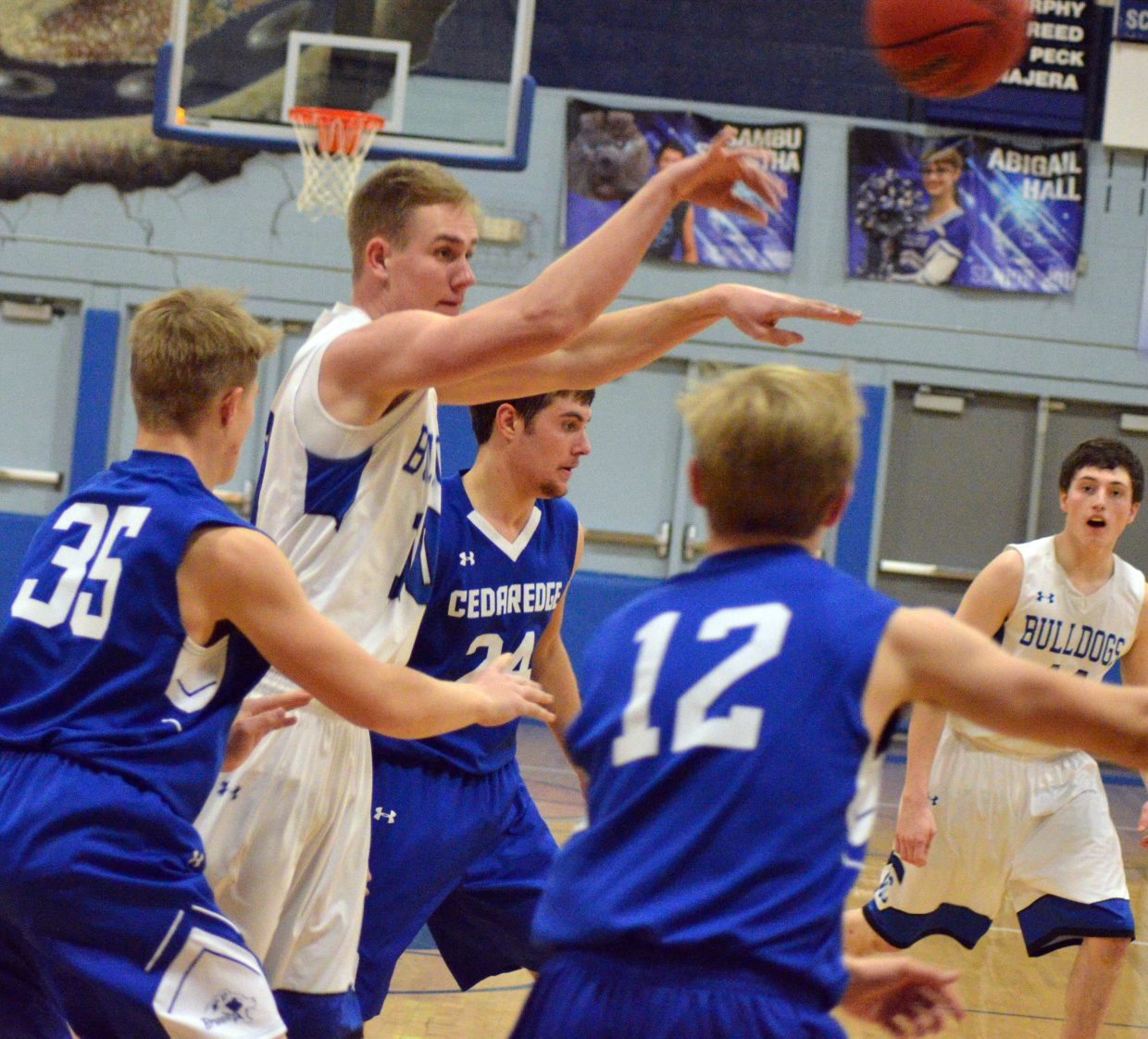 Moffat County High School's Colby Beaver dishes out a pass.
