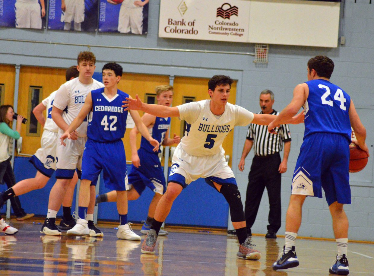 Moffat County High School's Jerod Chacon stays between Cedaredge and the basket.