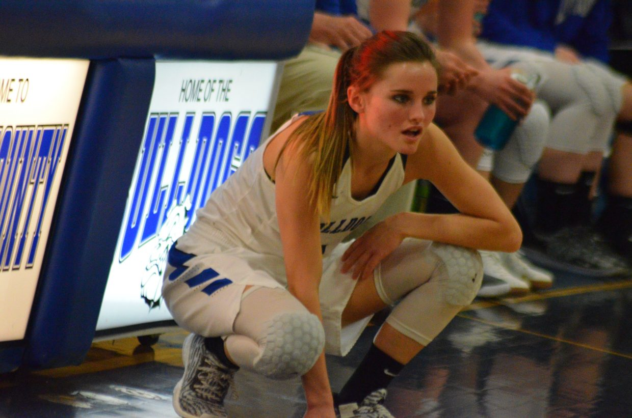 Moffat County High School's Stephenie Swindler readies to sub into the game.
