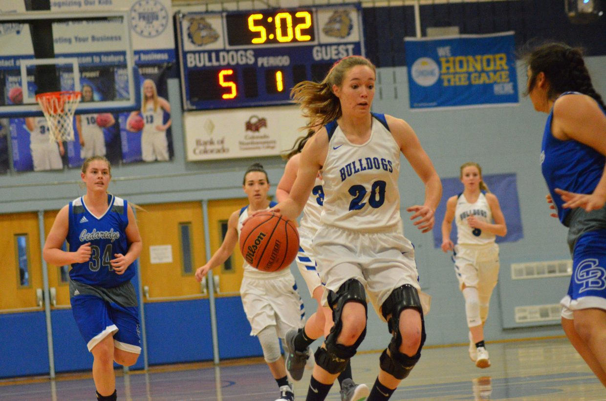 Moffat County High School's Madie Weber looks to add to the Lady Bulldog lead.