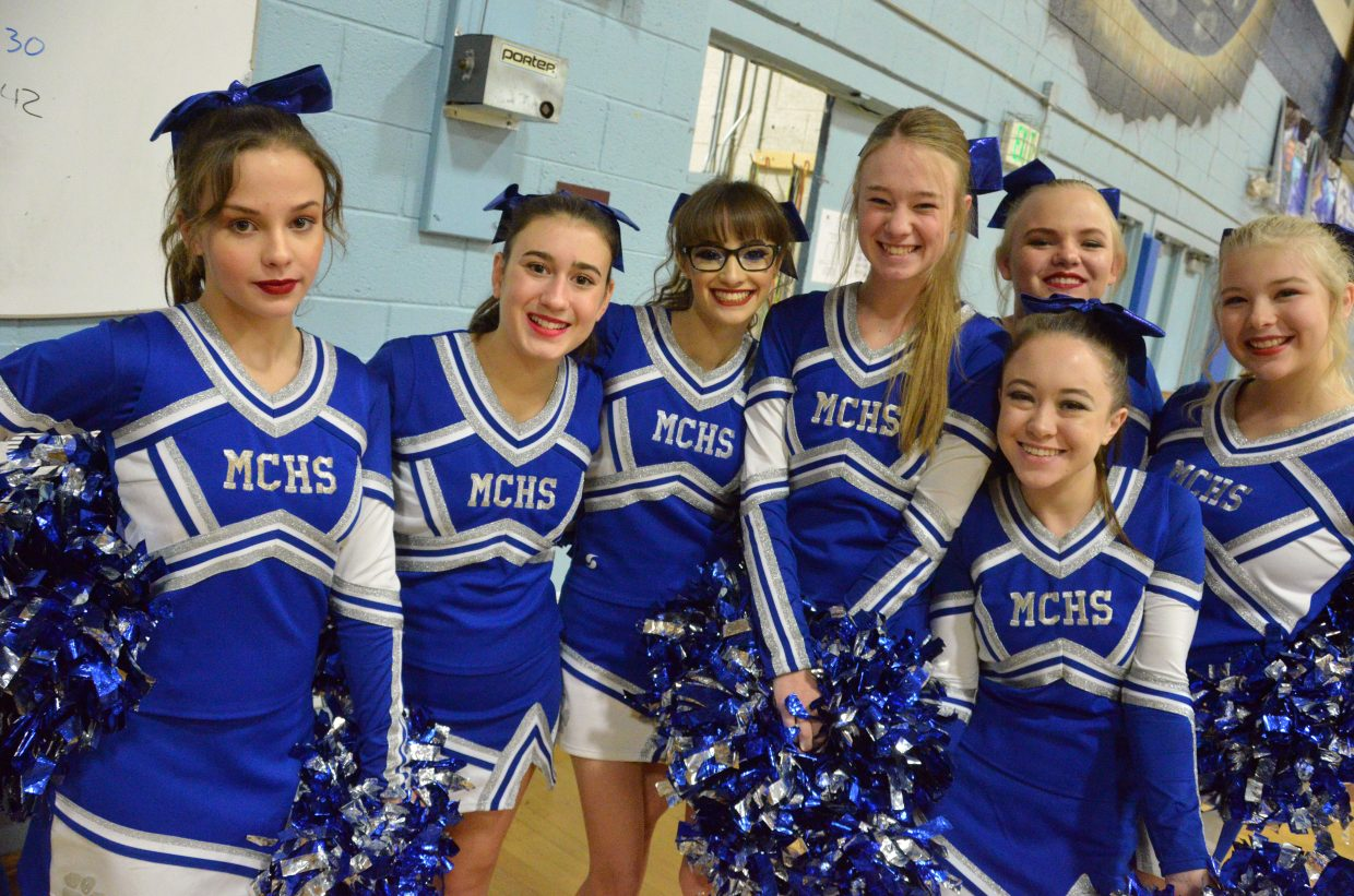 The Moffat County High School cheer team gets ready for Saturday's basketball games.