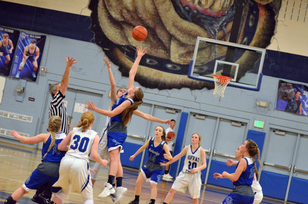 Moffat County High School's girls JV basketball tips off heading into overtime.
