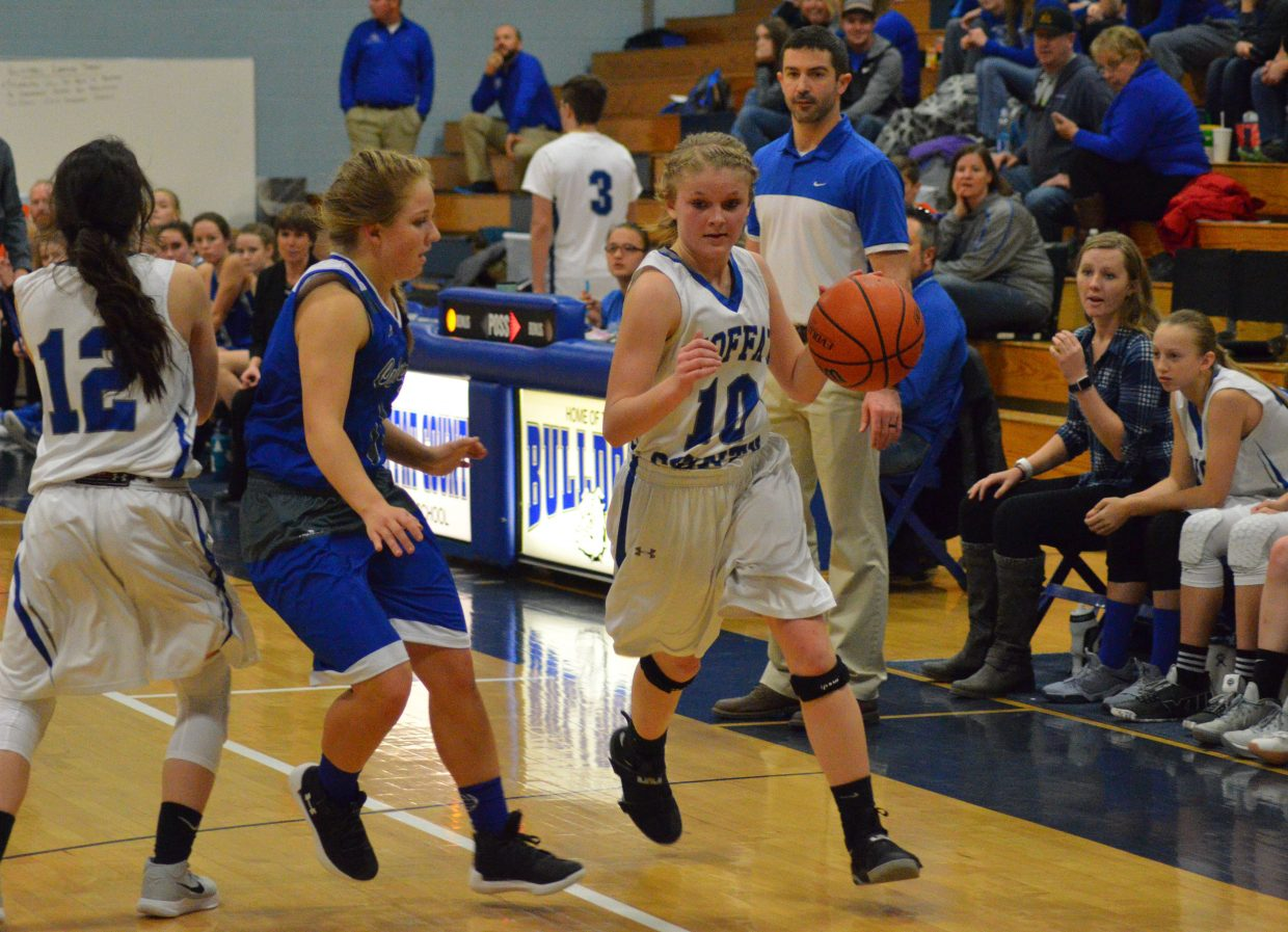 Moffat County High School's Jacie Evenson sticks close to the edge of the court during girls JV basketball.