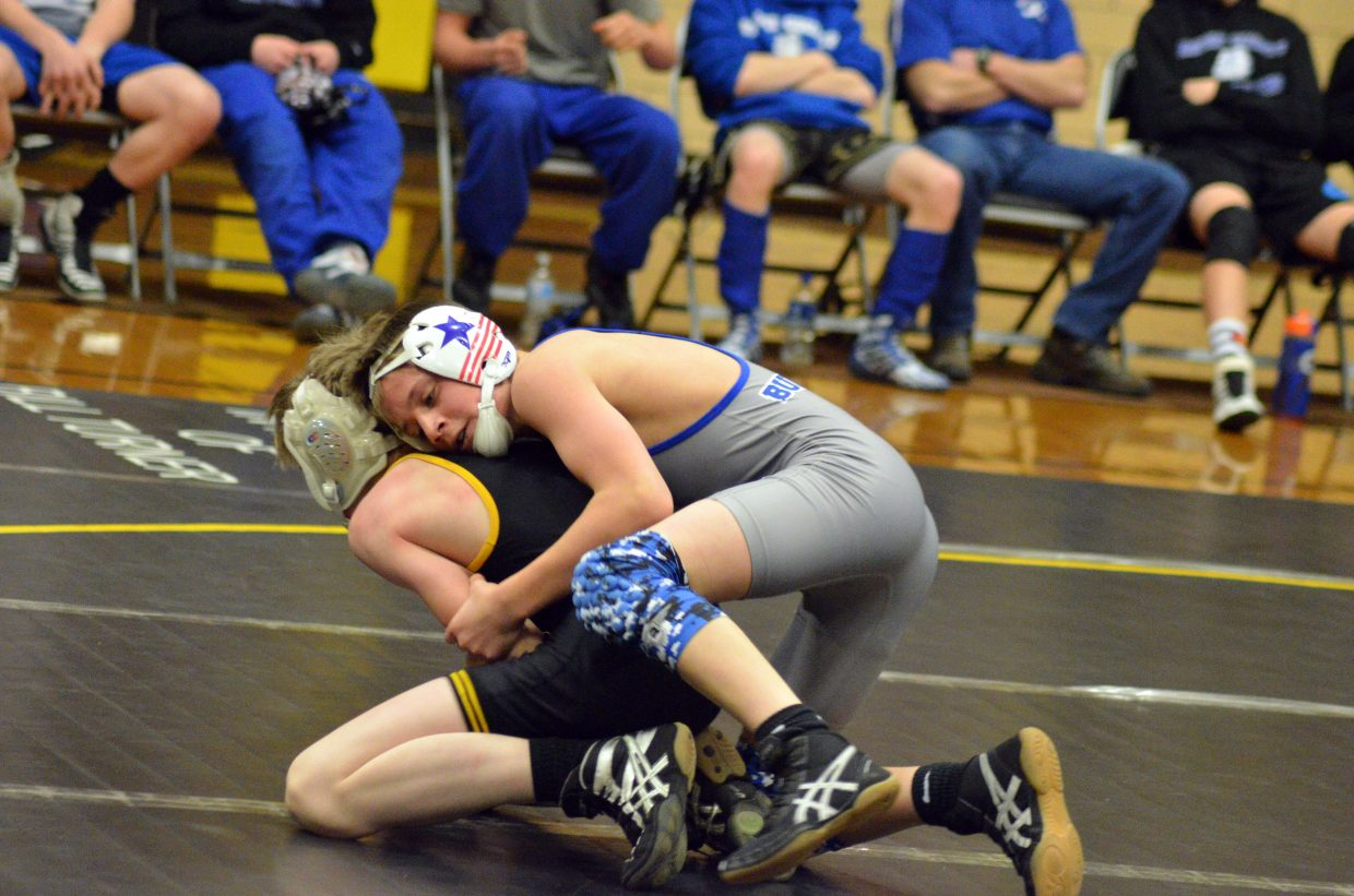 Moffat County High School's Caden Call competes with Meeker's Rowdy Rosendahl.