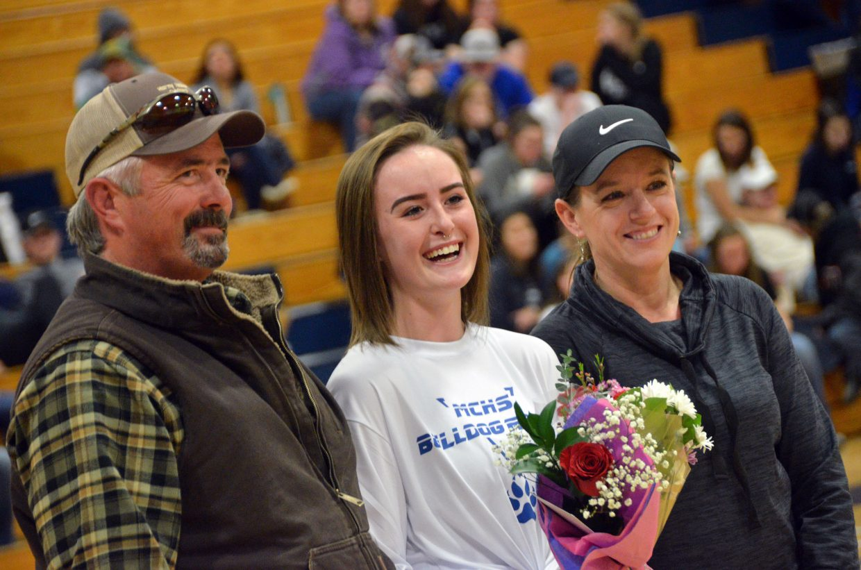 Moffat County High School dance team member Bailey Lawton is honored during Senior Night Saturday.