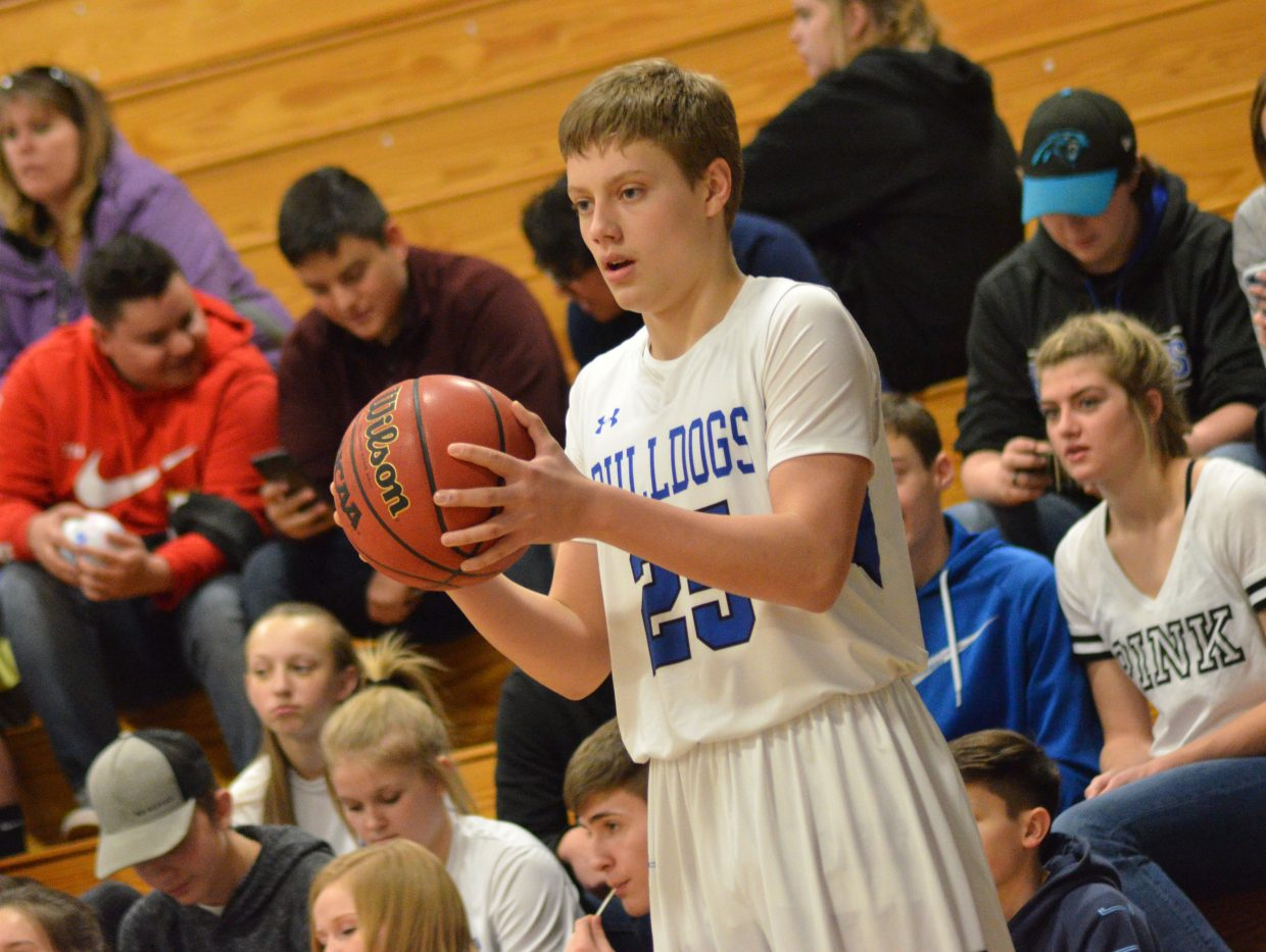 Moffat County High School's Ryan Peck looks for a potential pass against Roaring Fork.