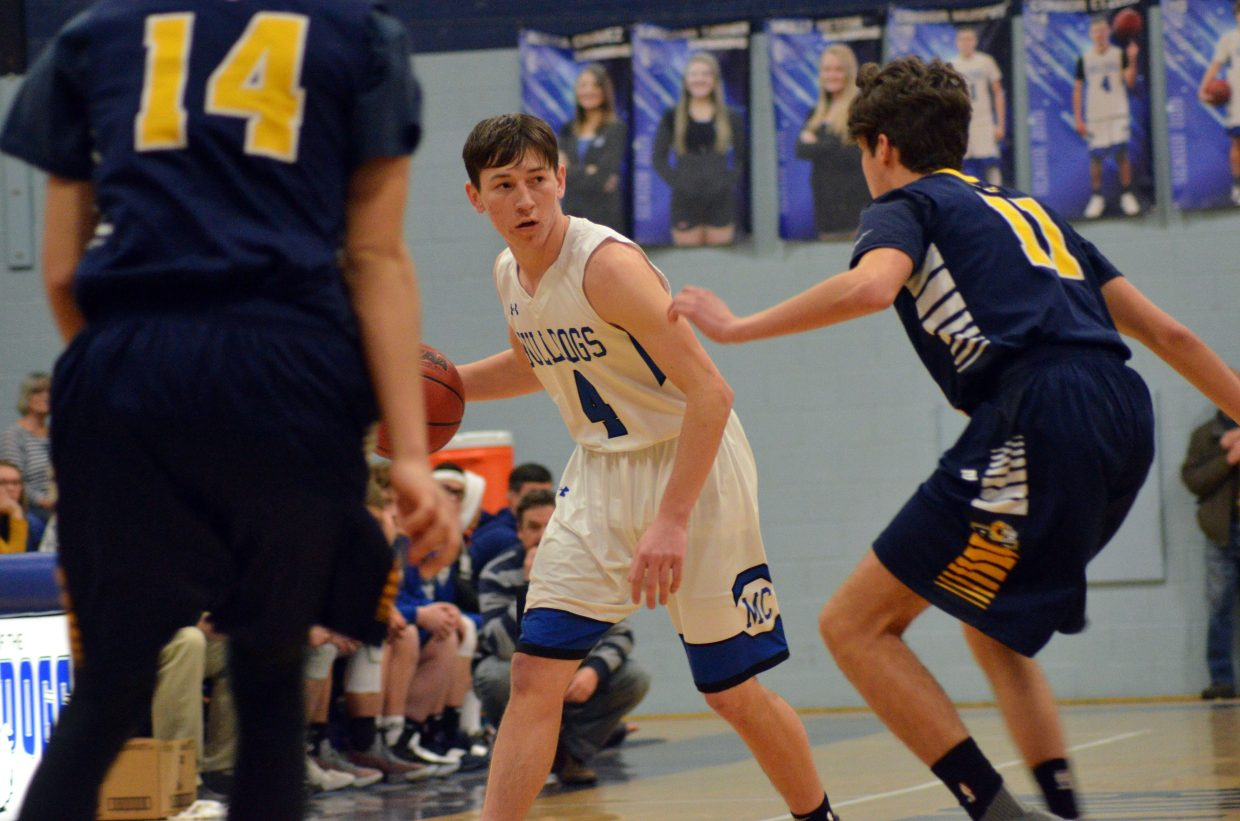 Moffat County High School's Connor Etzler rethinks his route against Roaring Fork.