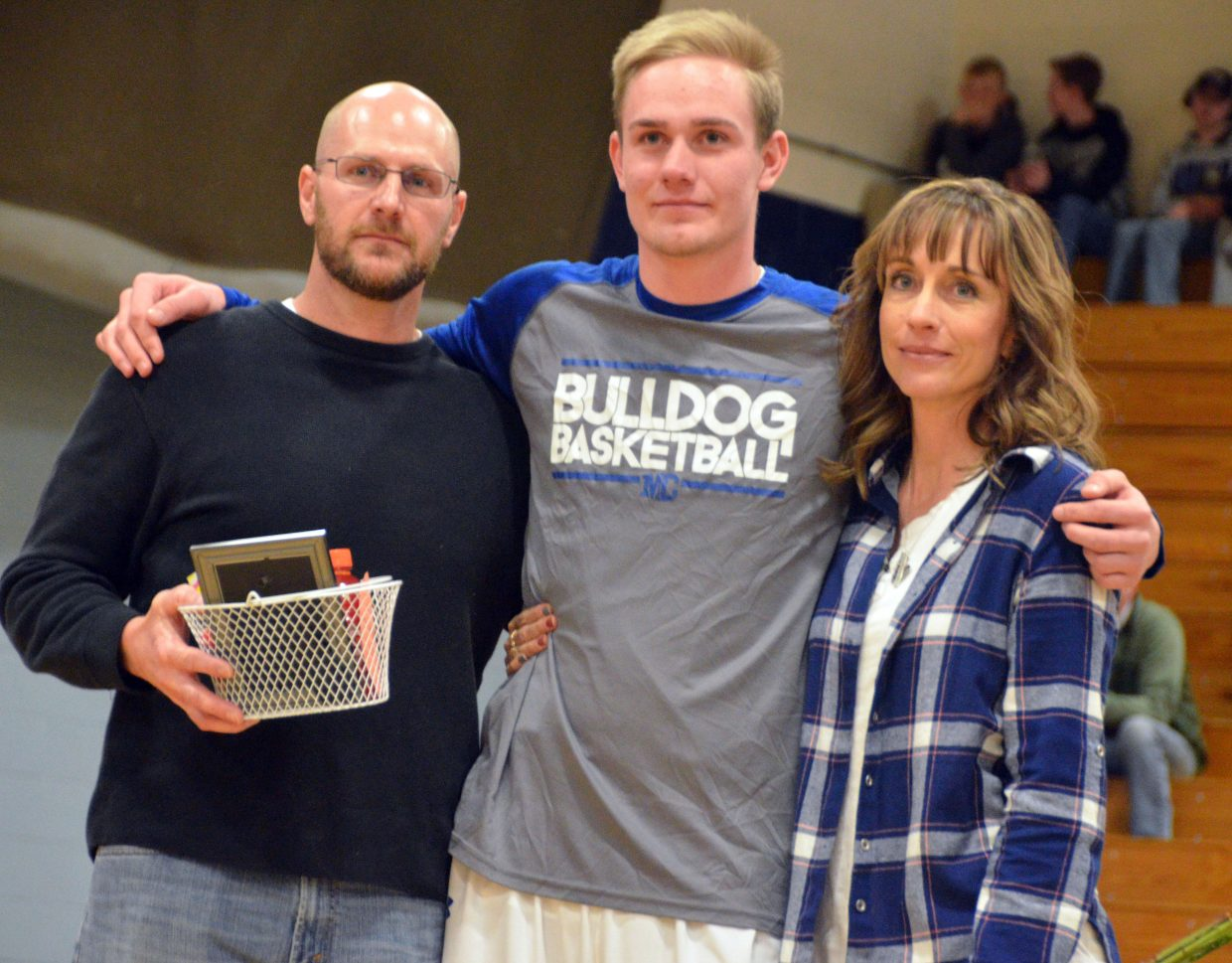 Moffat County High School's Colby Beaver is honored during Senior Night Saturday.
