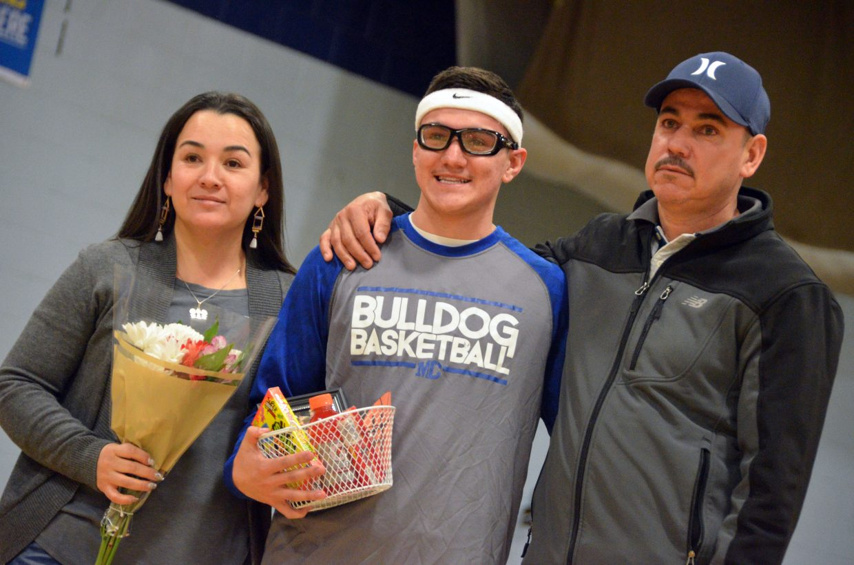 Moffat County High School's Victor Silva is honored during Senior Night Saturday.