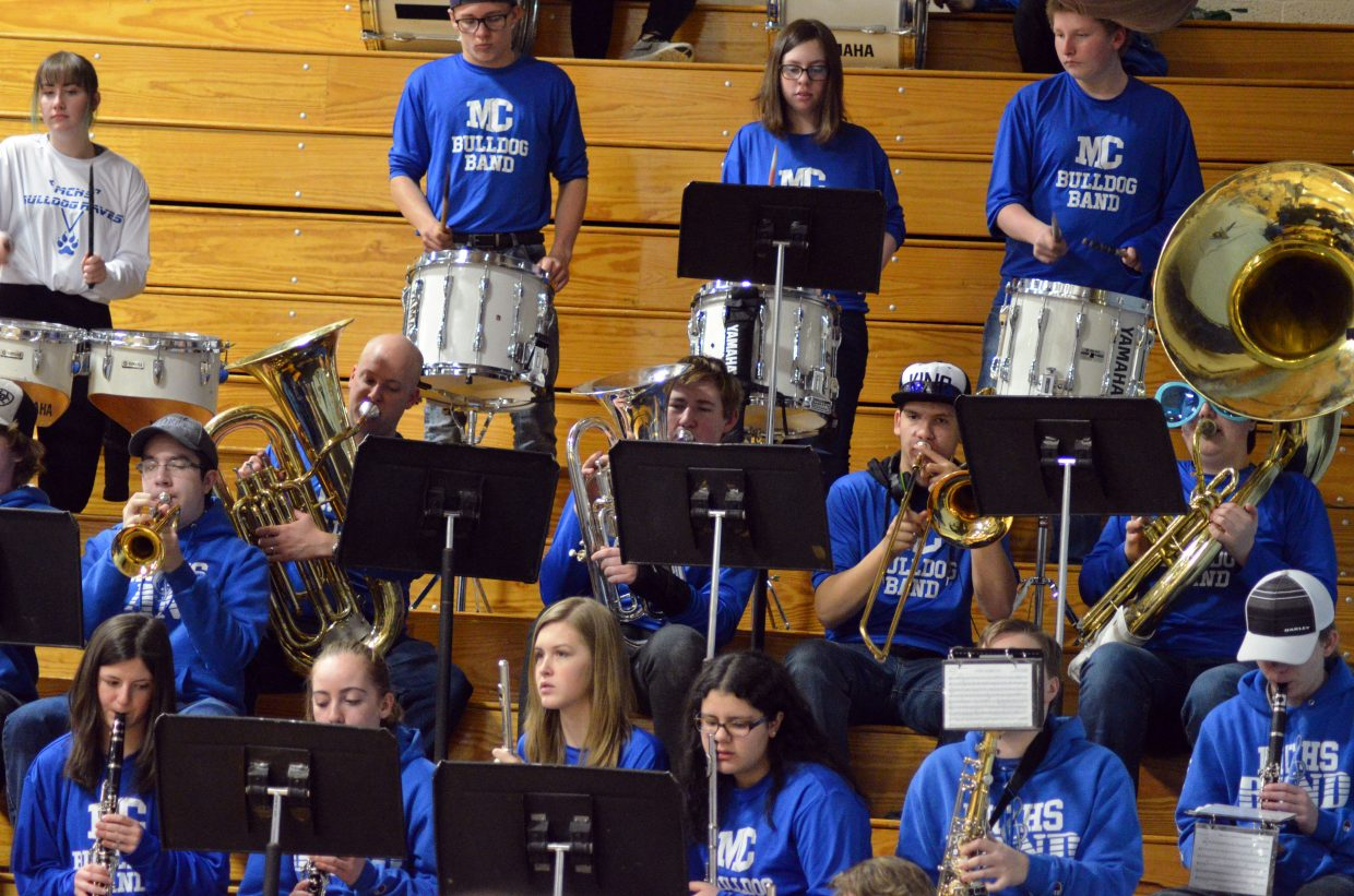 The Moffat County High School band performs during a timeout Saturday.
