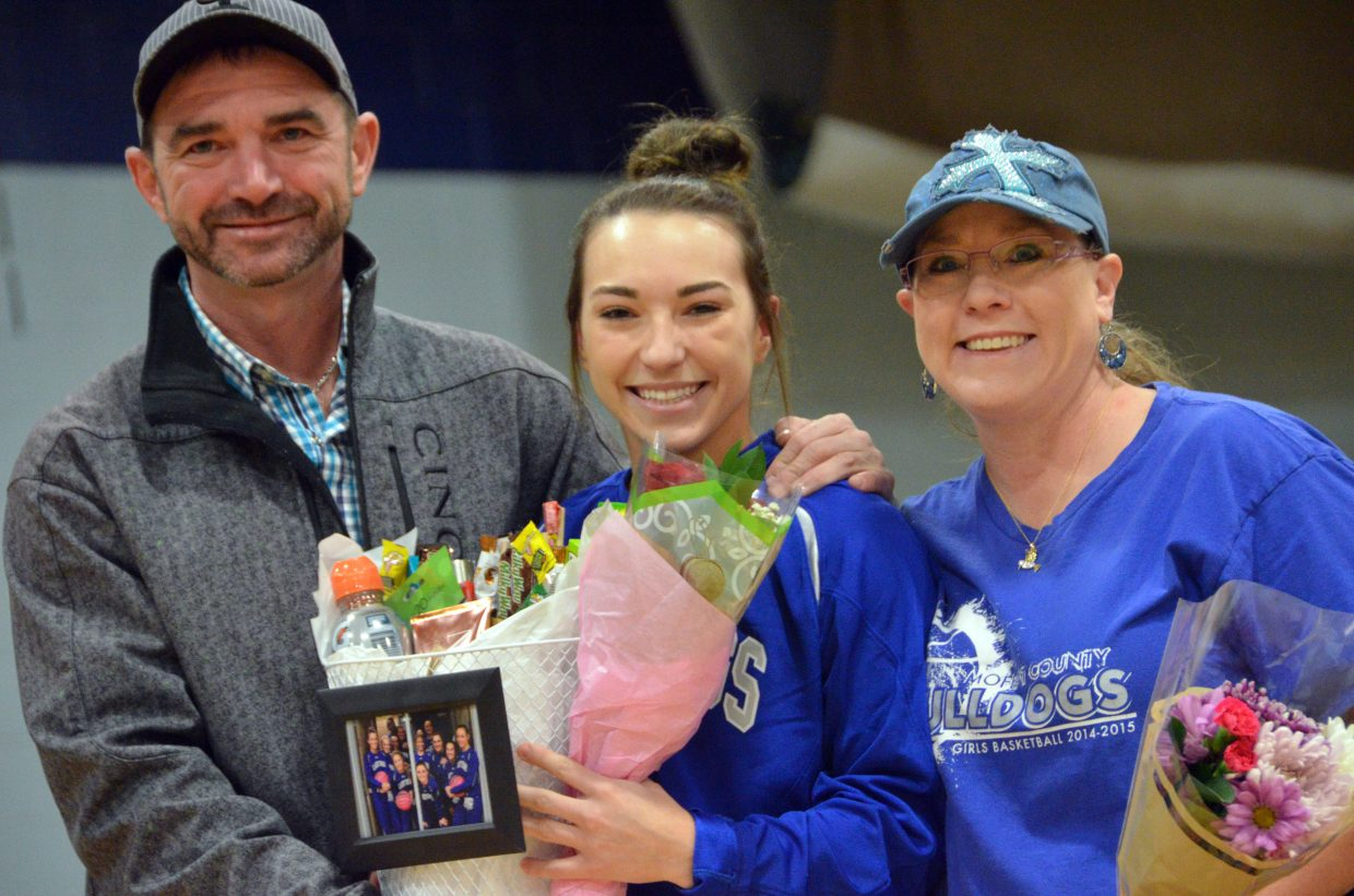 Moffat County High School's Quinn Pinnt is honored during Senior Night Saturday.