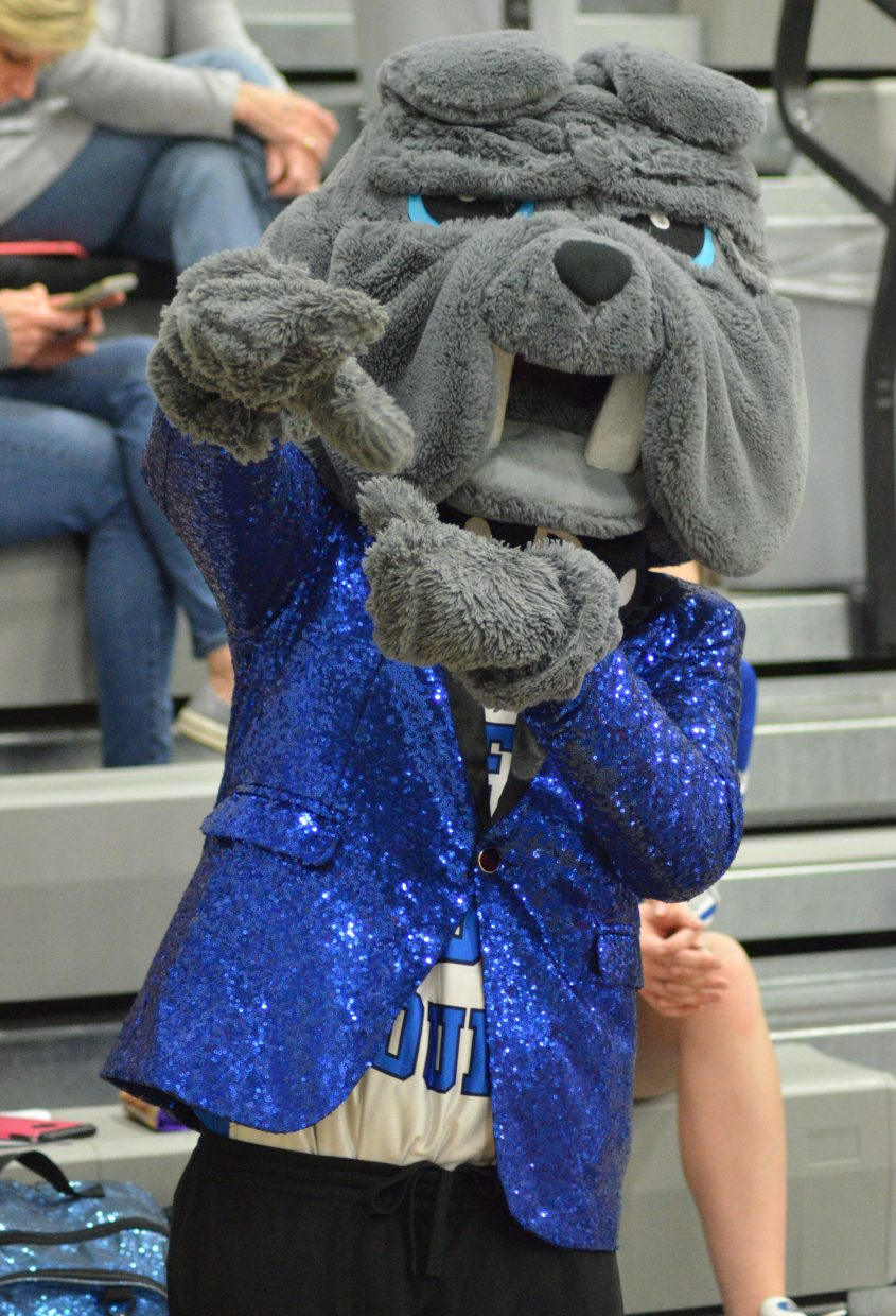 The Moffat County High School Bulldog mascot is well-dressed for a Valentine's Day basketball game against Coal Ridge.