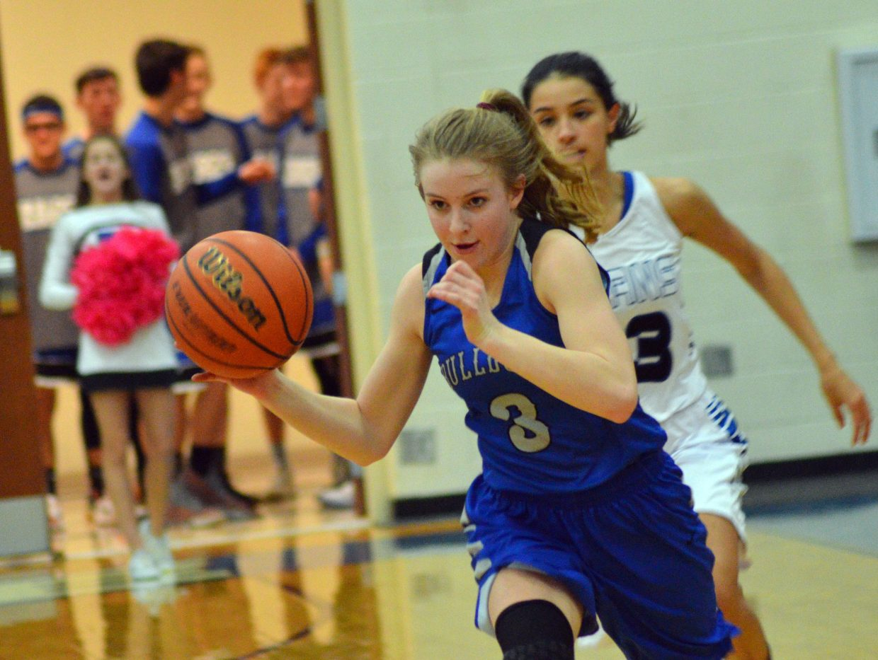 Moffat County High School's Halle Hamilton charges into the lane against Coal Ridge.