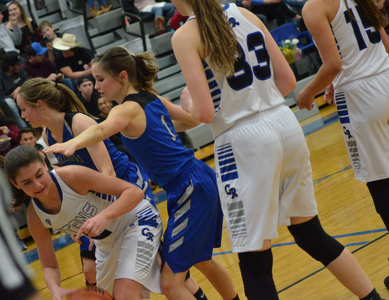 Moffat County High School's Madie Weber and Stephenie Swindler provide full-court pressure against Coal Ridge.