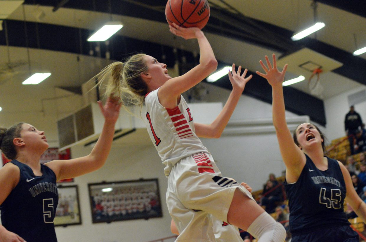 Moffat County High School's Kinlie Brennise soars in for a layup against University. MCHS girls basketball fell 50-41 Friday in the Round of 32 of the state tournament.
