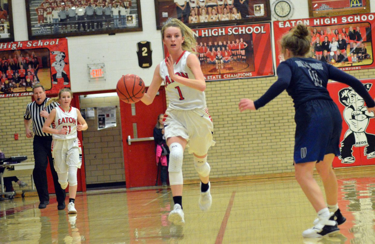Moffat County High School's Kinlie Brennise gets back on offense against University.