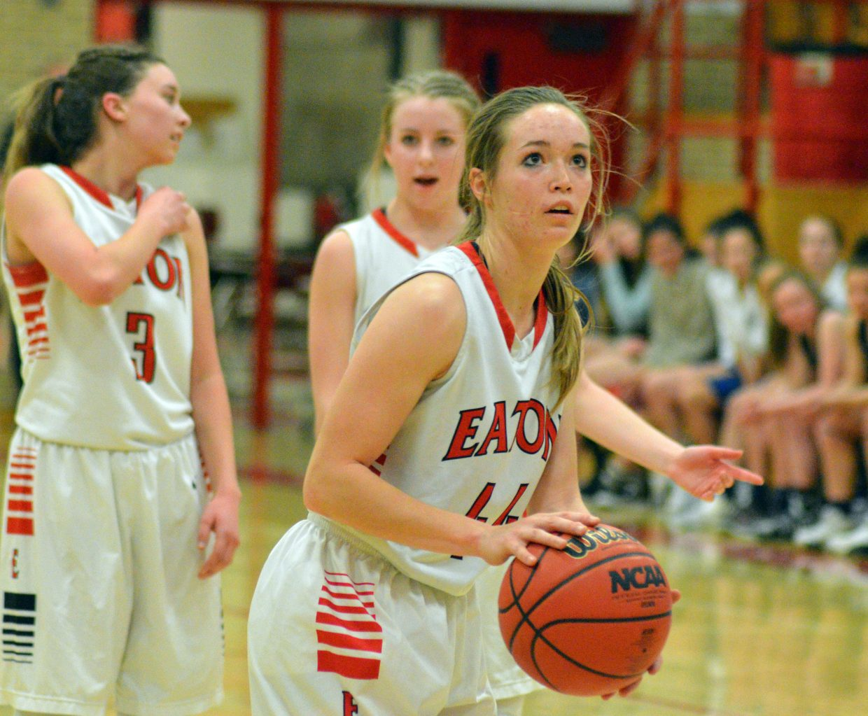 Moffat County High School's Madie Weber lines up a free throw.