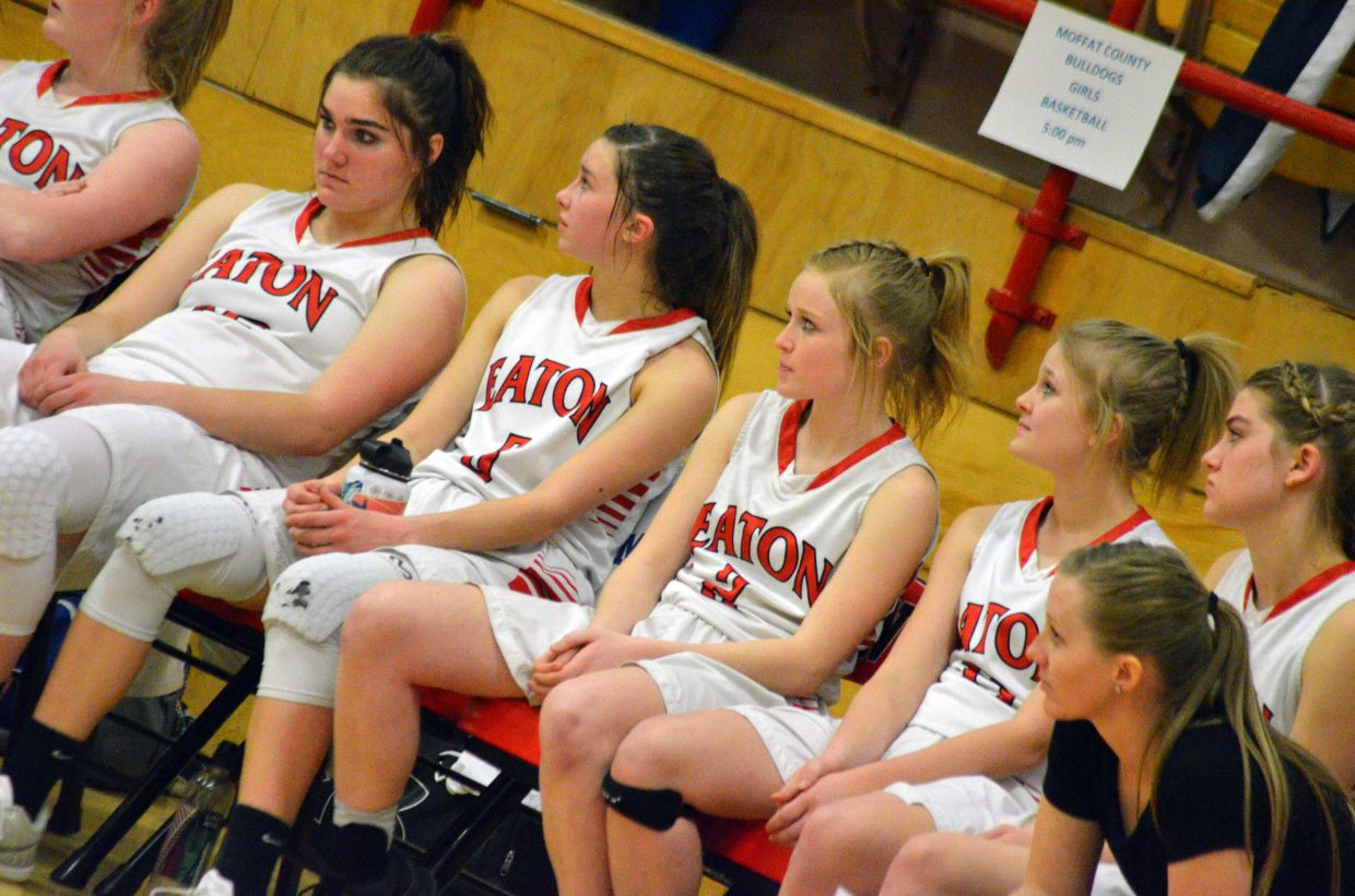 The Moffat County High School bench stays hopeful late in the game against University.
