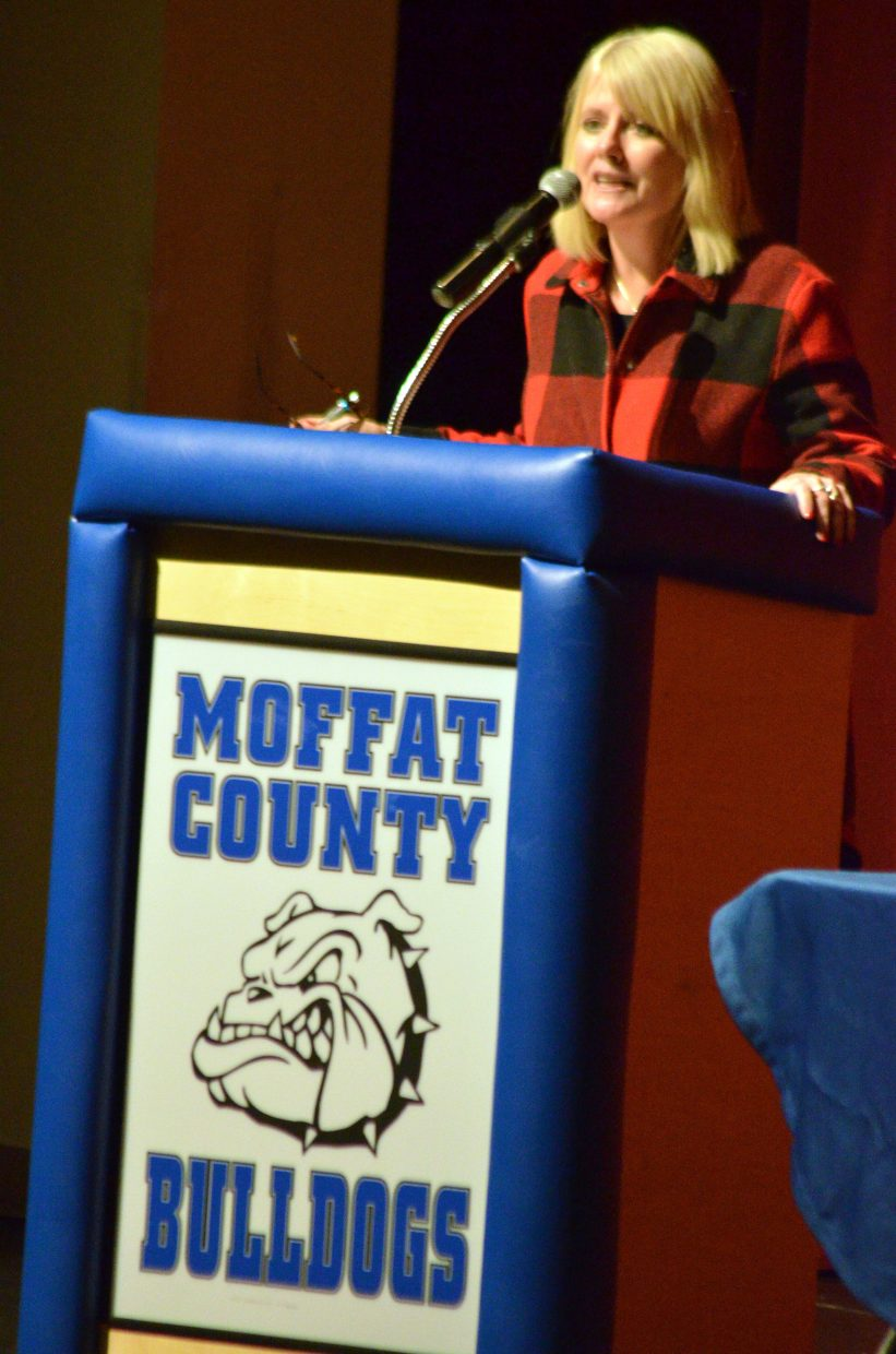 Lisa Schlichtman, editor of the Steamboat Pilot & Today, serves as moderator at Tuesday's election forum.