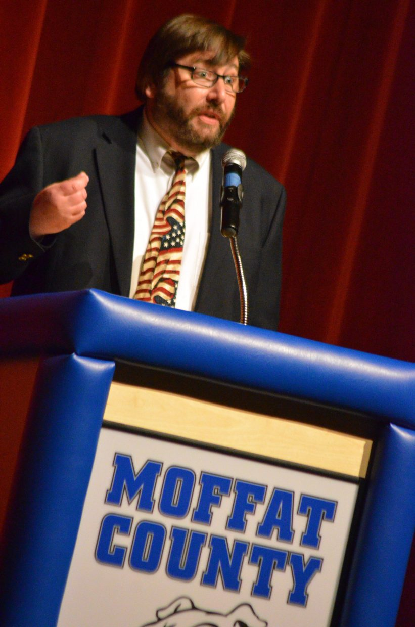Craig City Council candidate Brian MacKenzie emphasizes a point at Tuesday's election forum.