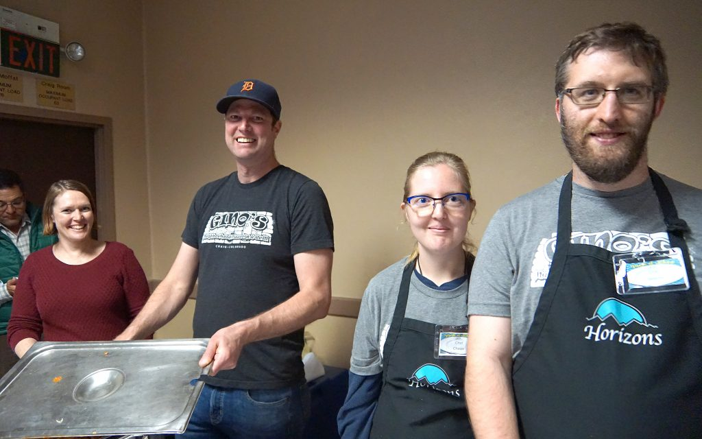 The crew from Gino's served up pasta aided by Horizons cooks Jeremy Gohr, far right and next to him, Chelsie Smith.