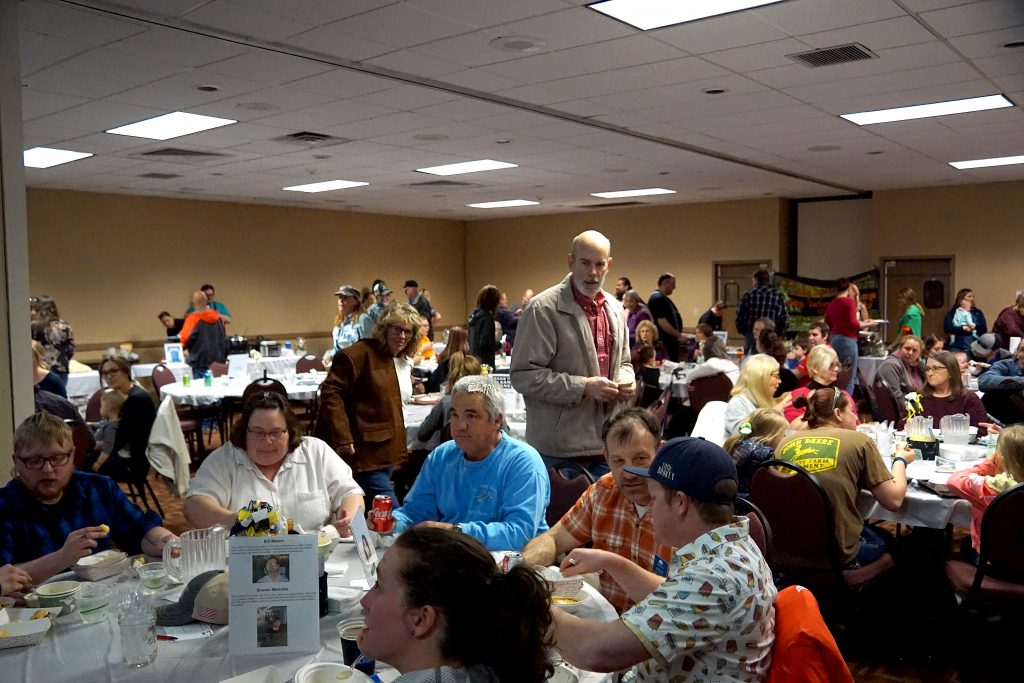 The large crowd filled the conference spaces, the atrium and restaurant space.